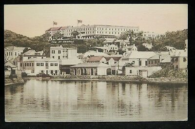 The New St. George Hotel, St. Georges' Bermuda Hand Colored Postcard 1937 VG