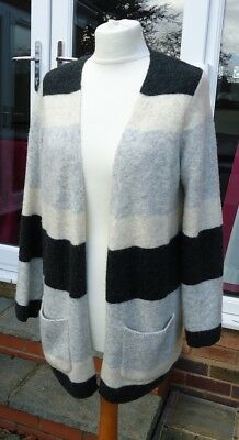 4e3531e794 Monsoon Two Tone Grey And Cream Wide Striped Cardigan Size S  10 12