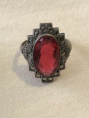 GREAT-Art Deco 1920'S Uncas Sterling Silver Marcasite & RED Stone Ring-s4