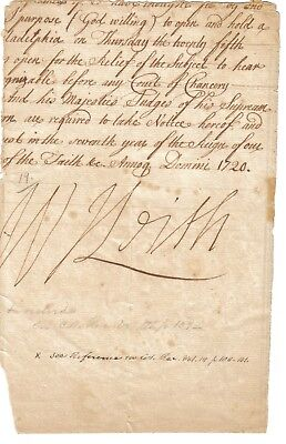 Sir William Keith - Lieut Governor of Pennsylvania - bold sig on part 1720 docum