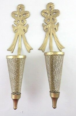 PAIR Gold Cast Iron Ribbon Flower Basket Cone Wall Sconces Hollywood Regency