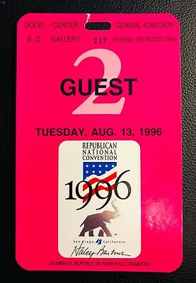 1996 Republican National Convention, Guest Pass Ticket, Tues, Aug 13, near mint