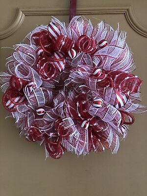 Handmade Red White Deco Mesh Christmas Wreath Ornaments Candy Balls And Ribbons