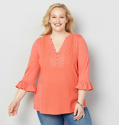 a2b175d59d9b63 AVENUE CAGED BELL Sleeve Top Womens Plus Size - $33.40 | PicClick