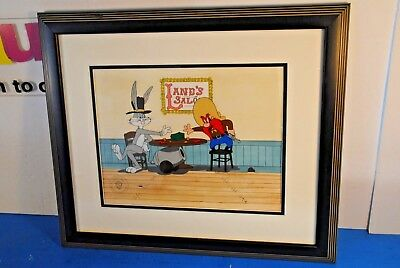 Warner Brothers Store Cel Bugs Bunny & Yosemite Sam - Lane's Saloon - Excellent