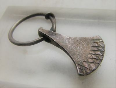 Scarce Circa 900-1100Ad Viking Era Norse Silver Odin's Axe Amulet W/twisted Loop