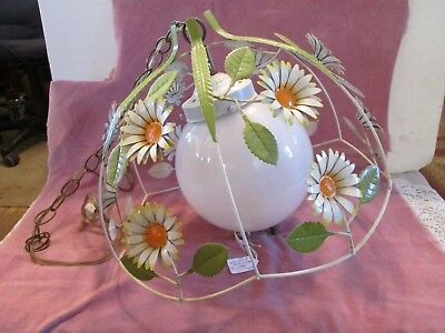 Vintage Mid-Century Modern Metal Daisy Hanging Kitchen Light Lamp - Working
