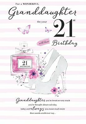 21st GRANDDAUGHTER BIRTHDAY CARD AGE 21 QUALITY WITH BEAUTIFUL VERSE