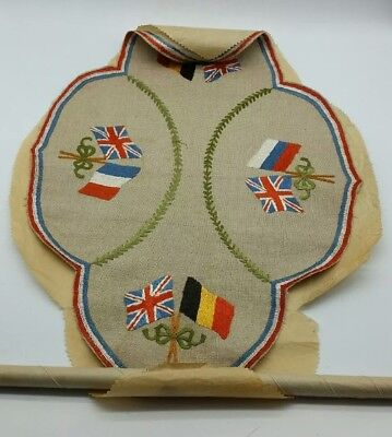 WW1 British Army Allied Convalescent Home Needlework Tapestry Trench Art LOOK!