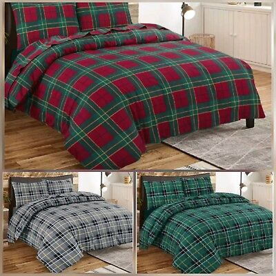 100% Brushed Cotton Durable Quality Tartan Checked Modish Duvet Quilt Cover Set