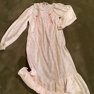 I C Mfg. Co. Vintage Girl Long Nightie W/Lace, Ruffles, & Ribbons USA Size 10