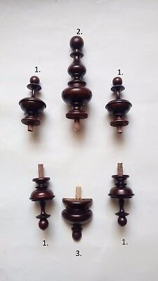 WOODEN FINIALS,TURNED TO THE ANTIQUE CLOCK VIENNA ,REGULATOR ,BECKER no.39