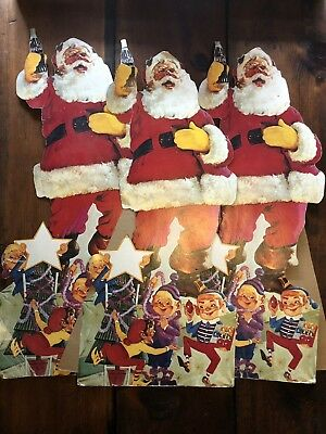 Vintage Coca Cola Santa Stand Up Store CHRISTMAS Display (Lot Of 3)