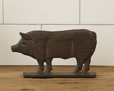 Cast Iron Pig on Base Double Sided Pig Figurine FARMHOUSE Country DECOR New
