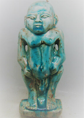 Large & Impressive Ancient Egyptian Glazed Faience Bes Statue. Very Rare