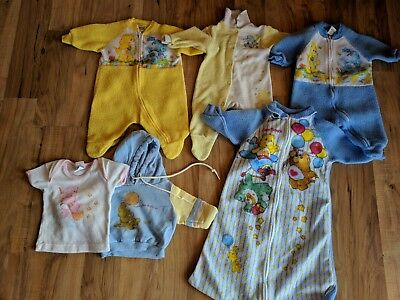Lot Of 6 Vintage 1980's Care Bears Pajamas & Shirts