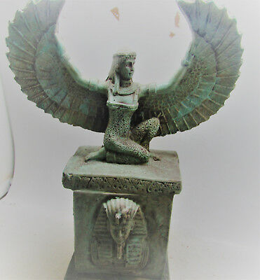 Scarce Ancient Egyptian Faience Plinthed Statue Of Winged Isis
