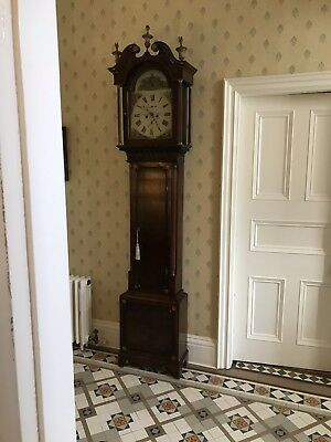 Antique Oak And Mahogany Long Case  Clock