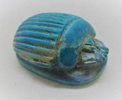 Beautiful Ancient Egyptian Faience Scarab With Heiroglyphics