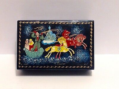 Russian Palekh Lacquer Box - Troika Scene - Initialled K.R.