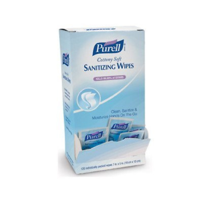 PURELL Cottony Soft Hand Sanitizing Wipes, 120 Individually Wrapped Wipes in Box