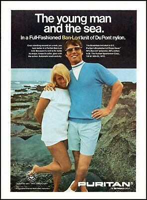 1968 Young couple seaside cliffs Puritan clothing vintage photo Print Ad ads22