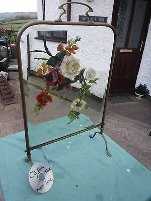 Vintage  Art  Nouveau  Hand  Painted  Mirrored  Fire  Screen