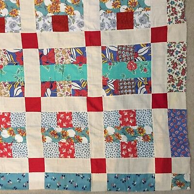 """Vintage Feed Flour Sack THE ALBUM Quilt Top Hand Stitched 71""""x82"""""""