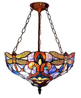 "Stained Glass Chloe Lighting Dragonfly 2 Light Inverted Pendant Fixture 17"" Wide"