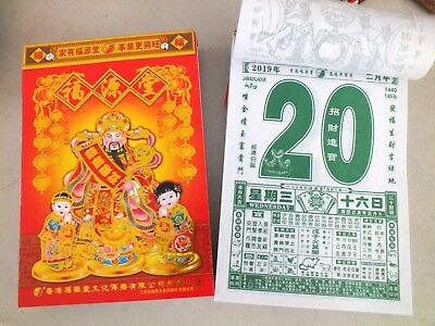 Chinese Page A Day Wall Hanging 2019 Calendar Desktop New Year Pig Party B3