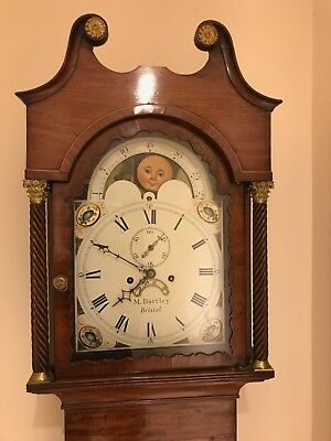 Antique circa 1850's Mahogany Long Case Clock with Moon Phases by M Bartley