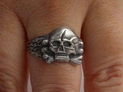 Interesting Military Very Old Silver Skull Ring Metal Detecting Find