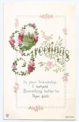 Vintage Greetings Postcard with Garland of Roses Unposted (mg618)