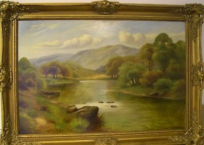 """Large A WRIGHT antique Victorian oil """"Country river landscape"""" 2 of 2"""