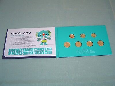 21st COMMONWEALTH GAMES 2018 SEVEN COIN SET IN FOLDER 3x COLOURED $2 and 4x $1