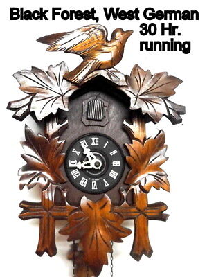 Vintage West German Black Forest 30Hr; Cuckoo Clock,  near perfect and running