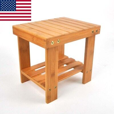 Children Bench Stool Bamboo Seat Corner Chair Wood Color Shower Storage Shelf US