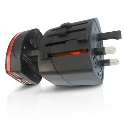 World Travel Adapter 2 With Dual USB Charger. Swiss Designed For Safety And Qual