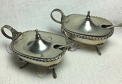Vintage Pair of 800 Silver Salt Cellars or Mustard Pots w/Spoons & Glass Inserts