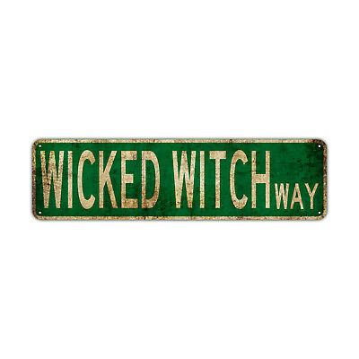 Wicked Witch Way Decor Wall Man Cave Bar Street Rustic Vintage Retro Metal Sign