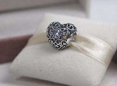 GENUINE PANDORA MARCH BIRTHSTONE HEART CHARM With OFFICIAL PANDORA PACKAGING
