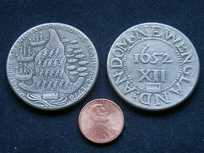 2 Copies Of Old Us Colonial Coins (Not Real, Not Silver! Play Things)