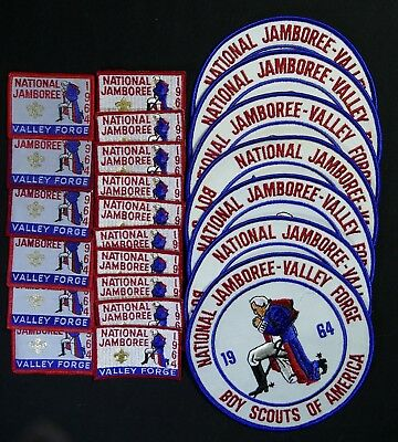 set of 23 U. S. 1964 National Jamboree patches of three types, new and sharp