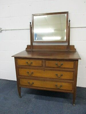 Dressing Table / Chest of Drawers with 4 Drawers & Mirror, Art Deco 1930s, 99cmW