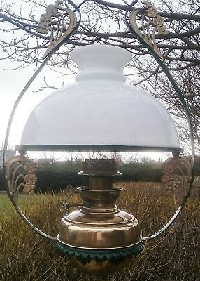 Antique Vintage  Hanging Brass Oil Lamp
