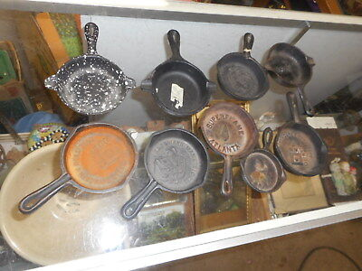 vintage miniture cast iron frying pan lot