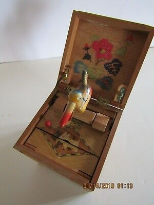Vintage Cigarette Box Dispenser Inlaid Wood with Mechanical Bird Pop Up