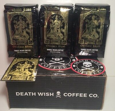 Valhalla Java Whole Bean Death Wish Coffee Lot Of (3) 12oz Packages Fair Trade
