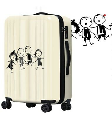 D524 Lock Universal Wheel White Cartoon Travel Suitcase Luggage 20 Inches W