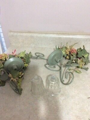 Home Interior / Homco Set Of 2 Green Wall Sconces With Candle Rings And Votive C
